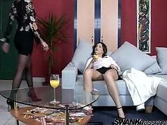 Eve Mendes is getting naughty with some horny woman indoors. The blonde and the brunette pet each other and practise passionate scissoring.