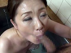 After dinner, the couple go to the tub and have a nice fuck. They kiss, and then, she grabs his cock and sucks it. He is rock hard. She licks his shaft and cock tip. They kiss some more and then he enters her pussy.