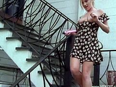 Get a hard dick watching this blonde girl, with a nice ass wearing a cute dress, while she gets drilled hard outdoors by a steamy guy in a great story.l