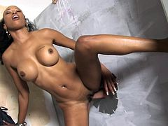 Be part of this clip where an ebony cougar, with big knockers wearing a thong, has interracial sex and slurps a big white pole. She's a dirty MILF!