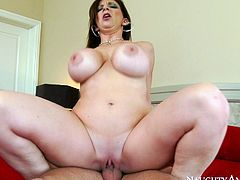 Hot tempered dude is lucky for this ones to have busty whore for sex fun. She rides his shaft like sex insane and her fake big boobs bounce like crazy.