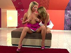 Captivating blondes Natalia Forrest and Nikita are trying their best to satisfy each other. They lick and finger each other's pussies and assholes and enjoy it much.