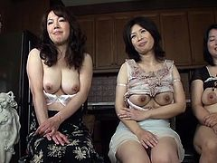 Three Asian hotties with big titties gettin' fondled by a couple of weirdos in this scene right here, hit play and check it out!