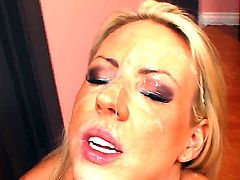 Bewitching busty blonde Carolyn Reese makes this dick cumming on her pretty face