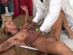 He seduces the client for sex by sliding his fingers against her snatch. He eats out her pussy when he finds out that she doesn't mind having hardcore fuck session instead of massage. After he licked wet pussy he's got stout blowjob.