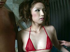 Attractive whore with nice body and in hot red lingerie gets her dripping pussy masturbated by the guy. She spreads her legs and the men inserts his fingers in her tight hole. Have a look at this babe in Jav HD xxx video.