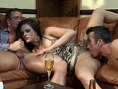 The hot and big titty Mackenzee Pierce takes on two hard cocks in this amazing threesome that features double penetration!