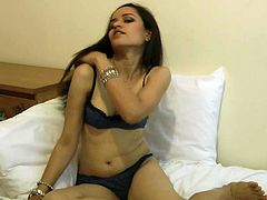 Petite with sensual forms, Jasmine, posing and masturbating in raw solo cam show