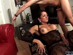 Dark haired bitch with nice body and sexy dress gets a blowjob and gets her butthole fucked hard missionary getting a handjob. Have a look at this bitch in Pinko Shemale sex video.