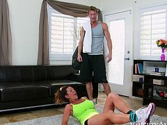 Leggy sport chick is ready to demonstrate deepthroat skills to her fitness instructor. He inserts his stiff dick in her throat and she sucks it like greedy for semen.
