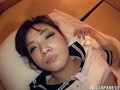 Salacious Japanese girl Chieri Matsuna wearing a college uniform and pantyhose lets some guy play with her shaved twat. Then they fuck in cowgirl position and doggy style.