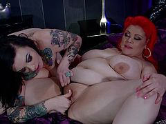 Sensual lesbian adventure between two chubby babes which are eager for really rough pussy stimulation