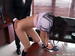 She is a perverted one and today she is enjoying that huge cock of her teacher! He is strict, but when it comes to sex he is so fucking sensual.