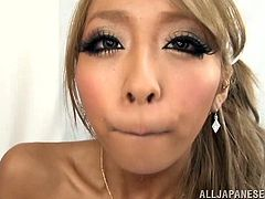 Have a good time watching this Asian blonde, with a nice ass wearing a maid uniform, while she gets plowed hard in different positions.