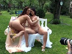 Two sensual lesbians fondle each other in this provocative backstage sex tube video. They suck nipples to make them hard and perky and finger fucks each others slits.