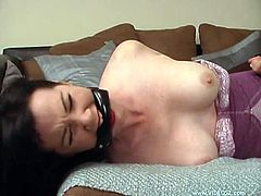 Sexy Anastasia Pierce gets gagged by Paige Richards. Then this submissive girl gets whipped with a stick and toyed with a magic wand.