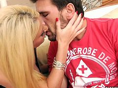 Something bad has happened with one of Sophie Dee's friends. A guy, Manuel Ferrara, comes over to give her news. They make each other feel better by hooking up.