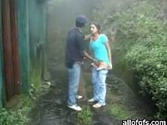 Attractive whore is so horny that she takes off the man's pants and sucks the dick outdoors. Have a look at this bitch in The Indian Porn sex video.