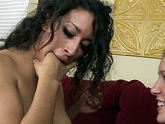 A bit of sleazy stimulation is causing young lesbos powerful sensations during their masturbation event