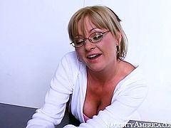 Naughty kinky guy got punished tough by being provided with pretty hard BJ. That bosomy light haired sex doll did her job perfectly. Take a look at that voracious teacher in Naughty America porn video!