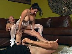 Black haired kinky wench with big titties enjoyed nice 3 some with mature studs. She got her pussy pounded in doggy pose. Later one freaky guy decided to join them. Look at this nice 3 some in Fame Digital porn clip!