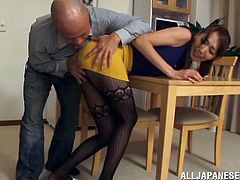 Admirable Japanese girl Shiho wearing pantyhose and a miniskirt is playing dirty games with some man. She shows her nice butt to the dude and lets him poke a dildo into her pussy.