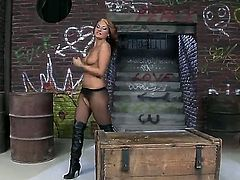 Becky Stevens is the kind of woman that is always naughty, today is not an exception she is almost naked and feeling very slutty she is fingering her wet and dirty fucked pussy.