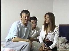 This is a retro porn about some threesome story, in which Leena is going to have fun with two men at a time. Both are in her holes.