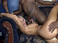 Light haired torrid MILF with huge sexy tits lied on sofa with her legs spread apart. One kinky freak banged her asshole hard. The rest two got presented awesome BJ. Just watch this hot gangbang copulation in Fame Digital porn video!
