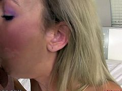 Alluring blonde Kaylee Hilton sucks her lover's big cock like mad