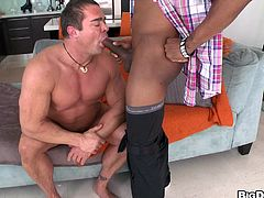 Take a look at this hot gay scene where this cocky guy sucks on a big black cock before having his asshole torn open by it.