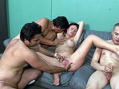 Hit play and check out this amazing gangbang scene with all these nasty fuckers banging a slutty bitch. Check it out right here!