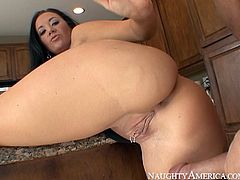Attractive brunette with awesome boobs gives a perfect blowjob to her buddy and rides his dick in cowgirl pose. Have a look at this gal in Naughty America sex video.