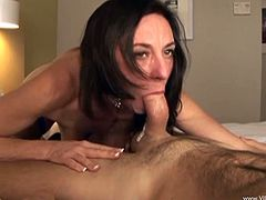 Make sure you take a look at this hardcore scene where the slutty Karen Kougar ends up with a mouthful of semen after being banged by this guy.