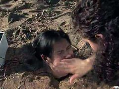 Outside woman domination Lezzy tied in the Jungle around Anal Insertions