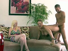 It looks impossible. But that slender babe loves her stud a lot. SO when she fucks assholes of other bitches she is not against. Actually hot 3 some is a usual thing in their family. Why not? Just watch this hot FFM fuck in Fame Digital porn video!