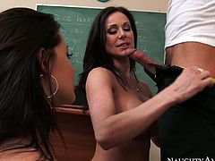 Two libidinous lesbians love to please each other right on the teachers table. You are crazy, dude, if you are going to skip this exciting lesbian sex tube video.