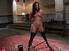 India Summer has been around for a while. This porn actress is getting it on in a different way, being tied up by her instructor, clothespins all over her. She's soon rewarded with a tongue in her, courtesy of a latex-wrapped guy. He gets a prize as well, his cock engulfed by India's pretty mouth.