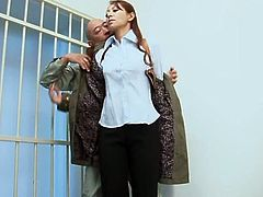 This dirty slut is supposed to be watching this prisoner, but instead, she gets turned on by him. Watch, as she gets naked for him. He rubs her boobs and sucks on her nipples. She is so horny now and she's wet, too. He eats her pussy out in the cell. Hopefully he doesn't escape, because she wants more.
