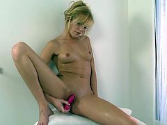 Pretty and charming blonde Hayden Hawkens is having fun in a bathroom. She shows her nice natural tits and then fingers her shaved vagina and drills it with a dildo.