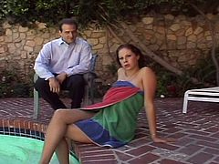 Horny and busty Gianna Michaels get fucked hard near the pool by big cock.