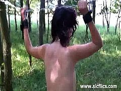 Sic Flics brings you a hell of a free porn video where you can see how this hot brunette slave gets fisted hard in the woods after getting tied up to a tree.