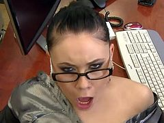 It's her first day at the office and she already is devouring her boss's huge dick