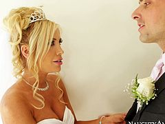 Tasha Reign is getting married in high-quality porn video filmed by Naughty America. After the ceremony Tasha kisses her fiance in a French way.