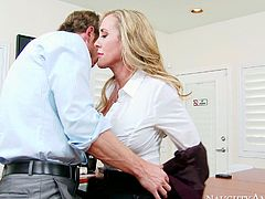 It's been a long, hard-working day at the office for stunning MILF Brandi Love and her co-worker. Cock crazed blonde with huge tits knows a lot about oral sex. She gets down on her knees and gives him the best blowjob of his life.