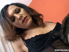 Touch yourself watching this brunette shemale, with a nice ass wearing sexy lingerie, while she goes really hardcore with a steamy dude.