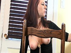 Salacious brunette milf shows her nice natural tits and spreads her legs wide, demonstrating her pussy. Then she smokes and pleases herself with masturbation.