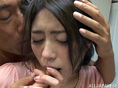 Click to watch this Asian babe, with a nice ass wearing a skirt, while she gets fucked hard in different positions and moans stridently.