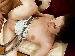Brunette Ann Marie La Sante offers her totally fuckable mouth to hard dicked guy