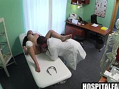 Busty amateur blonde patient getting fucked hard